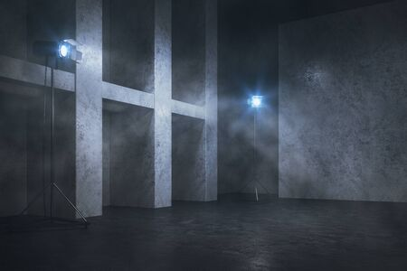 Foggy concrete interior with professional lighting equipment, copy space and smoke. 3D Rendering