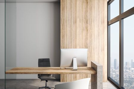 Loft style office with wooden table and wall, suede leather chair, concrete floor anf big light windows with city view. 3D Rendering