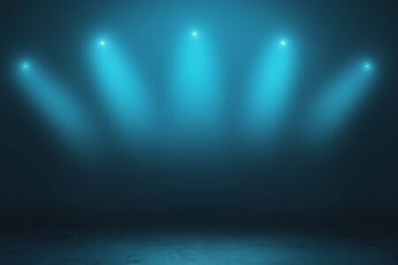 Abstract empty stage with smoky spotlights and concrete floor in dark space room. 3D Rendering