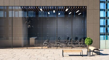 Street view on modern loft style auditorium with wooden floor, black chairs, concrete table and glass wall in business center. 3D Rendering