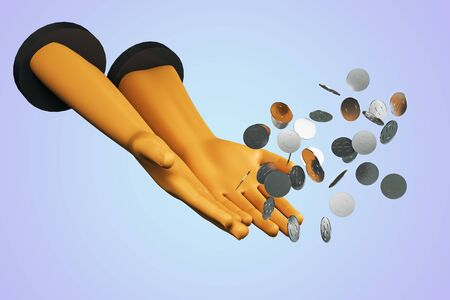 Earning money concept with plastic human hands and flying silver coins at light lilac background. 3D Rendering