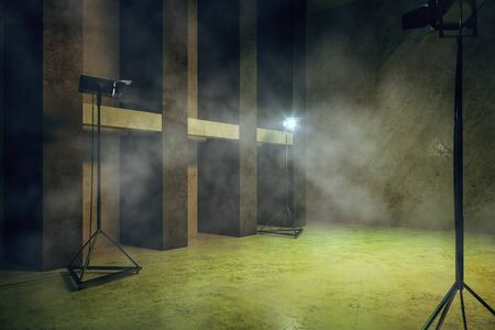 Creative green concrete interior with professional lighting equipment, copy space and smoke. 3D Rendering