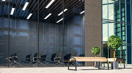 City wooden benches on a street and modern spacious conference room in business center with black chairs and glass wall at background. 3D Rendering Stockfoto