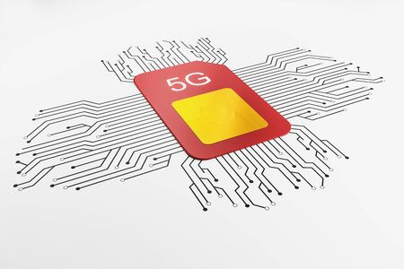 Web speed and telecommunication concept with red sim card with 5G sign and black wires around at white background. 3D Rendering