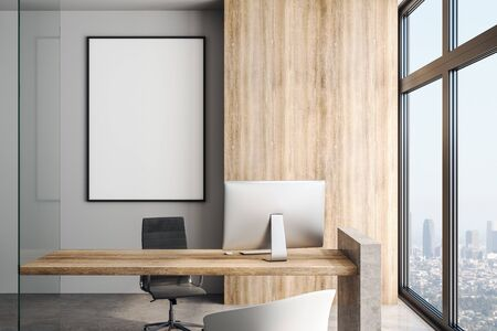 Blank white poster on the wall in modern office in skyscraper with big window, concrete floor, wooden table and megapolis view. 3D Rendering