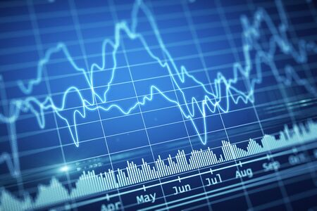 Abstract bright financial chart illustration. trading concept. 3d rendering Stock Photo
