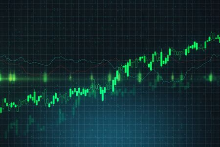 Trading and growth concept with bright green graphs going up at abstract binary code background. 3D Rendering