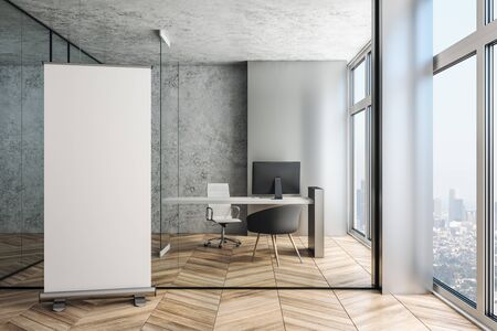 Executive workplace in a modern office interior with blank roll advertising banner, mockup. 3d rendering