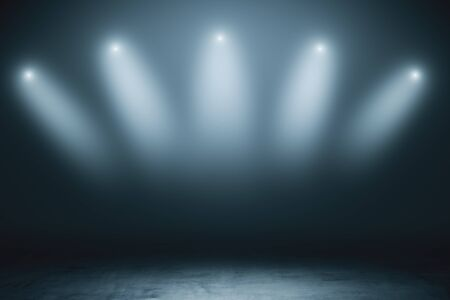 Abstract empty stage with grey smoky spotlights and concrete floor in dark space room. 3D Rendering