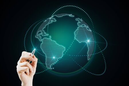 Global data concept with world map with glowing lines around and human hand with pen pushing digital screen.