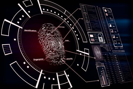 Protection and security concept with fingerprint and cyberspace icons on digital screen. 3D Rendering Foto de archivo - 128642966