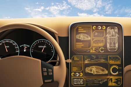 Vista dall'auto con schermo digitale del computer di bordo a cielo blu con sfondo di nuvole. Rendering 3D