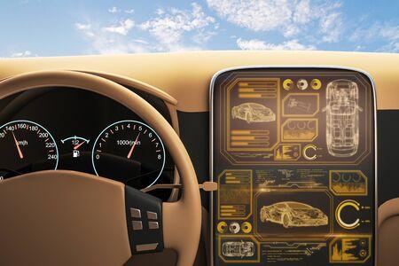 Vue depuis la voiture avec écran numérique de l'ordinateur de bord au ciel bleu avec fond de nuages. Rendu 3D
