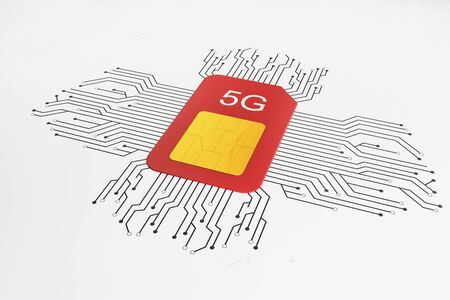 Web speed and gadget concept with red sim card with 5G sign and black wires around at white background. 3D Rendering