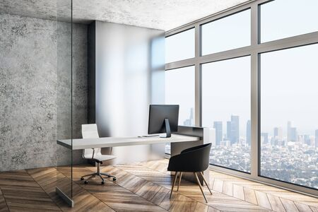 Executive workplace in a modern interior with big windows. 3d rendering