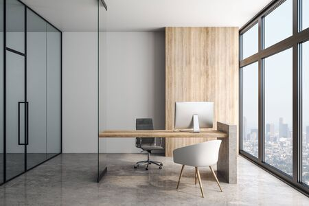 Modern office in skyscraper with wooden table concrete floor, big light windows and glass walls. 3D Rendering