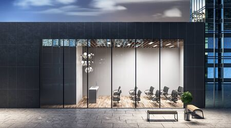 Street view on a modern spacious auditorium with black chairs and wooden floor in one-storeyed building at night city background. 3D Rendering