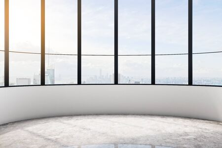 Bright empty office interior with city view, daylight and concrete floor with shadows. 3D Rendering