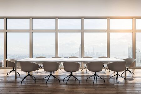 Modern meeting room interior with furniture and city view. Workplace and office concept. 3D Rendering Stock Photo