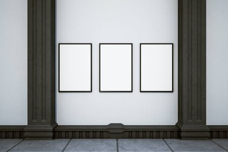 Interior clásico contemporáneo con banner vacío. Concepto de galería. Mock up, representación 3D