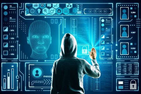 Hacker using astract glowing head outline interface on dark background. AI and innovation concept