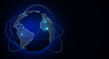 Global digital technology concept with world map and blue glowing lines around. 3D Rendering