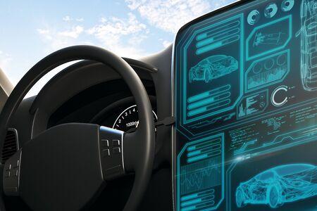 Interior elegante del coche negro con pantalla futurista y cielo con nubes. Concepto de transporte y vehículo. Representación 3D