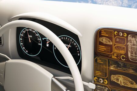 Bright white car interior with futuristic screen and sky with clouds view. Transport and vehicle concept. 3D Rendering