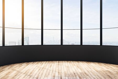 Modern empty office interior with city view, daylight and wooden floor with shadows. 3D Rendering