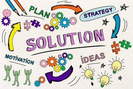 Successo, soluzione e concetto di marketing con schizzo di affari disegnato a mano creativo. Rendering 3D