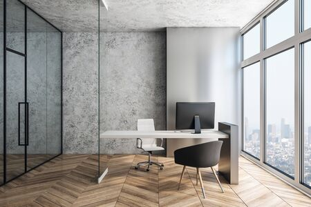 Supervisor workplace in a modern interior. 3d rendering Stok Fotoğraf