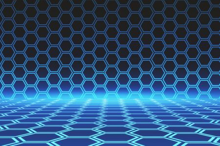Abstract digital hexagons background. Technology and science concept. 3D Rendering