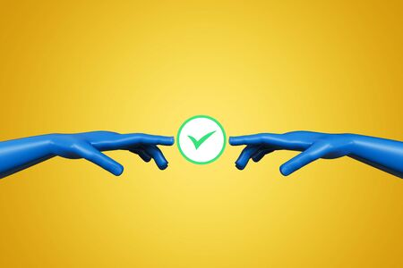 Abstract digital hands with green tick mark on yellow background. Teamwork and deal concept. 3D Rendering