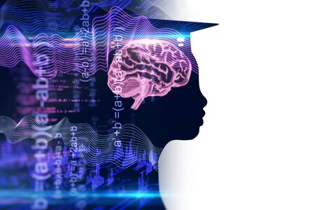 Side view of person with graduation cap on abstract dark white background with blurry mathematical formulas and brain. Artificial intelligence and education concept. Multiexposure. 3D Rendering Stock fotó