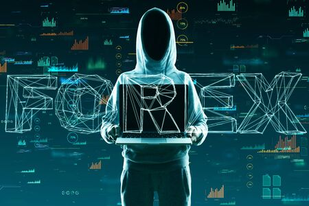 Hacker with laptop and creative forex hologram. Trade and finance concept. Double exposure Фото со стока