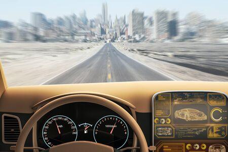 Interior del coche marrón moderno con pantalla futurista y vista borrosa de la carretera. Concepto de transporte y vehículo. Representación 3D Foto de archivo