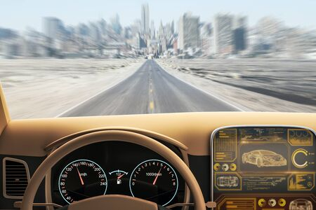 Modern brown car interior with futuristic screen and blurry road view. Transport and vehicle concept. 3D Rendering