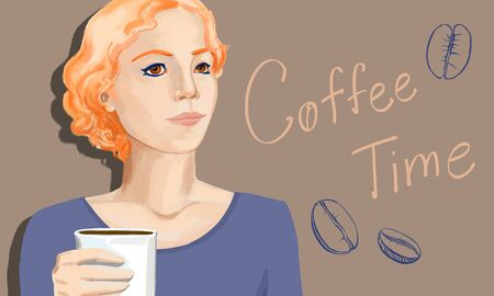 Drawn portrait of attractive young caucasian woman with coffee cup. Art and morning beverage ad concept. 3D Rendering Banque d'images - 128936180