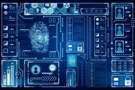 Abstract glowing blue finger print interface on dark background. Access and safety concept. 3D Rendering