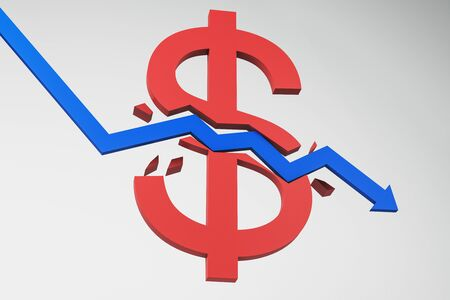 Downward blue arrow breaking red dollar sign on white background. Economy and decrease concept. 3D Rendering