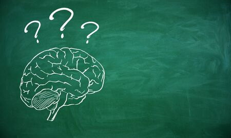 Brain sketch with question marks on chalkboard background. Brainstorm and faq concept. 3D Rendering