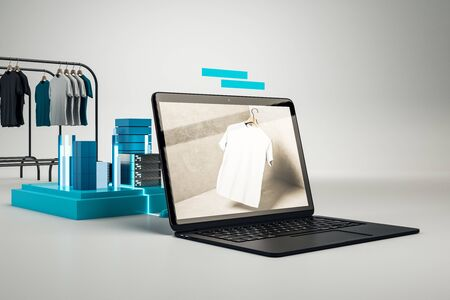 Creative online shopping concept with huge laptop computer and racks with clothes on white background. 3D Rendering