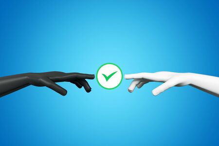 Abstract digital hands with green tick mark on blue background. Teamwork and agreement concept. 3D Rendering