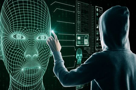 Hacker using astract glowing head outline interface on dark background. AI and robotics concept Stockfoto