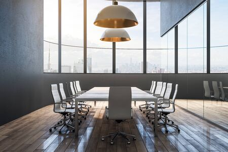 Stylish meeting room interior with furniture and city view. Workplace and office concept. 3D Rendering Stock Photo