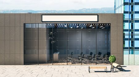 White blank signboard on one-storeyed building with modern auditorium with black chairs, wooden floor and glass wall. 3D Rendering