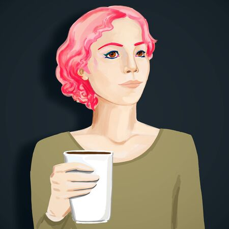 Drawn portrait of pretty young european woman with coffee cup. Art and morning beverage ad concept. 3D Rendering Banque d'images - 128936852