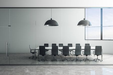 Luxury concrete meeting room interior with furniture and city view. Workplace and office concept. 3D Rendering Stock Photo