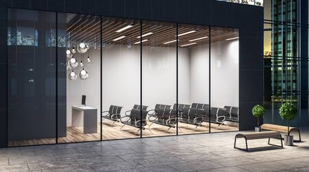 Night street view on a light spacious auditorium with wooden floor, lights and black chairs in dark wall business center. 3D Rendering Banque d'images