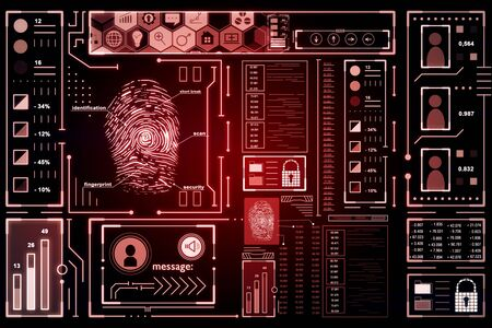 Abstract glowing red finger print interface on dark background. Access and safety concept. 3D Rendering Stock Photo